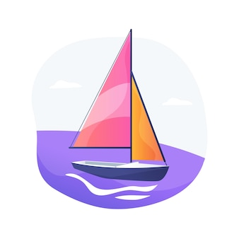 Sailing abstract concept vector illustration. sailing boat, water sport, yacht club, summer adventure, romantic trip, competition winner, sea island, ocean navigation, transport abstract metaphor.