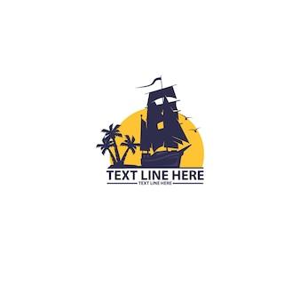 Парусное приключение и шаблон логотипа закат