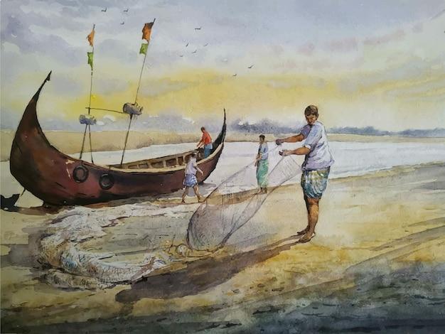 Парусная лодка рисованной акварельные иллюстрации