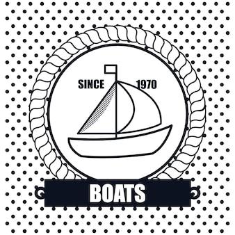 Sailing boat icon background dot