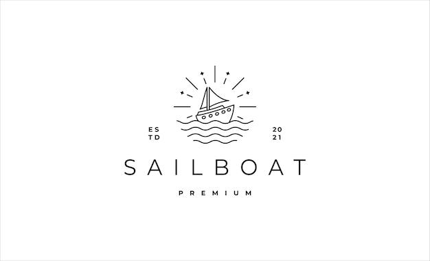 Парусная лодка логотип значок линии векторный дизайн иллюстрация