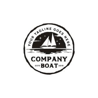 Sailing boat silhouette rustic emblem logo design