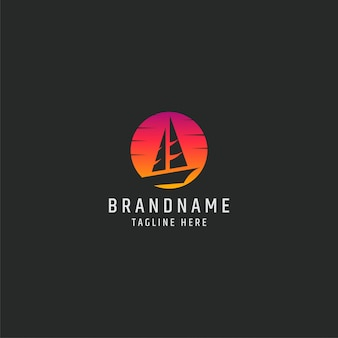 Sailing boat in sunset logo template vector illustration
