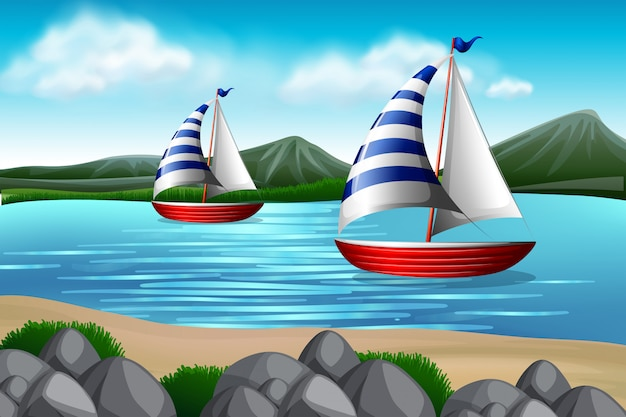 海でのセーリングボート