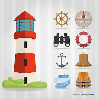 Sailing elements with lighthouse, bell and rudder