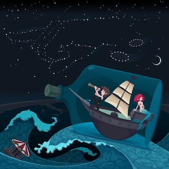 Путешествие в ночном векторные иллюстрации мультфильм
