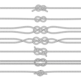 Sailing knots horizontal borders or dividers. marine decorations. nautical knots