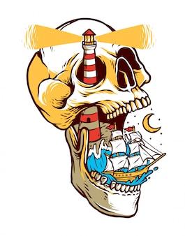 頭蓋骨の島の図にセーリング