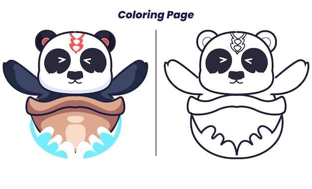 Sailing panda with coloring pages