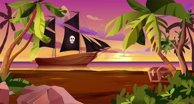 Парусный пиратский корабль с черными флагами в море и сундук на берегу деревянная парусная лодка на воде су