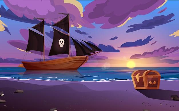Парусный пиратский корабль с черными флагами в море и сундуком на берегу.