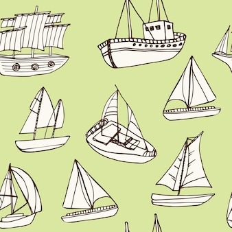 Sailing ship hand drawn doodle seamless pattern