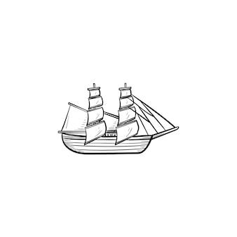 Парусный корабль рисованной наброски каракули значок. винтажная парусная лодка, приключения и парусный спорт, концепция круизных путешествий. векторная иллюстрация эскиз для печати, интернета, мобильных устройств и инфографики на белом фоне.