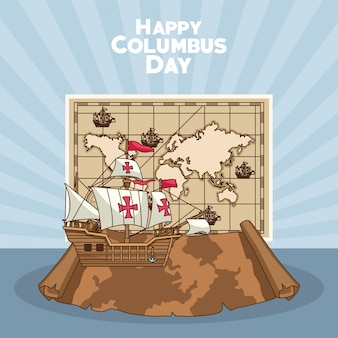 Sailing ship, happy columbus day design