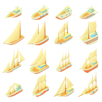 Sailing ship icons set in cartoon style