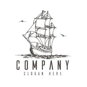 항해 선박 로고 개념, 평면 로고 스케치, 회사 로고 템플릿 프리미엄 벡터