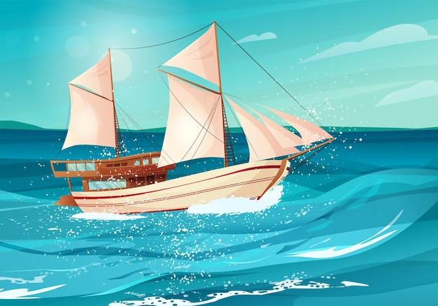 바다에 검은 깃발을 가진 선박. 물에 범선.