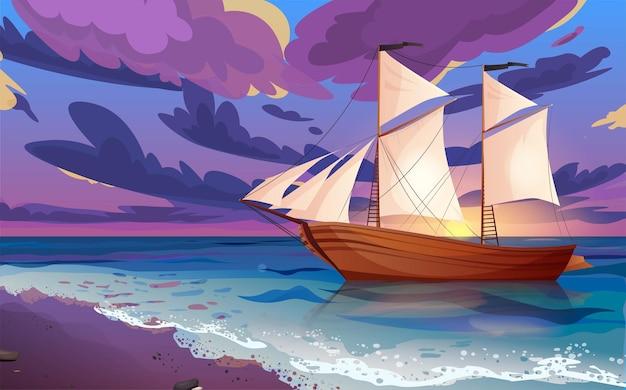 黒旗の帆船。水上の木製のヨット。日没または日の出、空に雲のある海の夜明け。