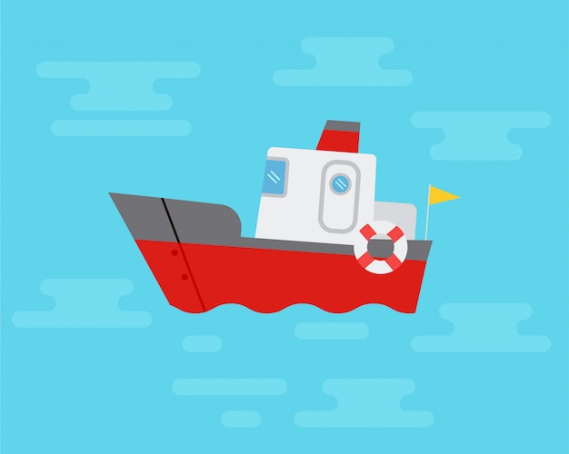 Sailing ships in the blue sea. flat design vehicles