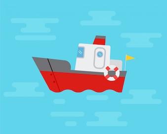 青い海で帆船。フラットデザイン車