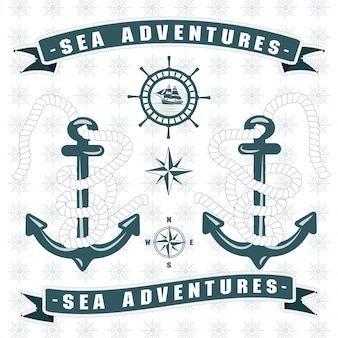 Sailing themed logo with anchor