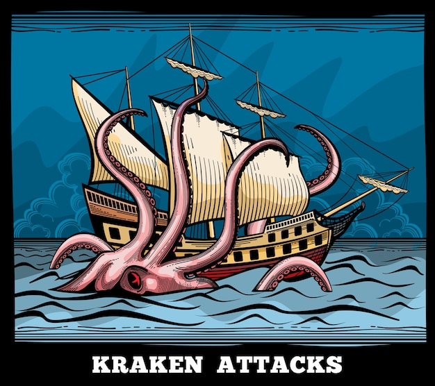 Парусное судно и векторный логотип осьминога монстра kraken в мультяшном стиле. кальмар с мифом о щупальце, иллюстрация приключенческого путешествия