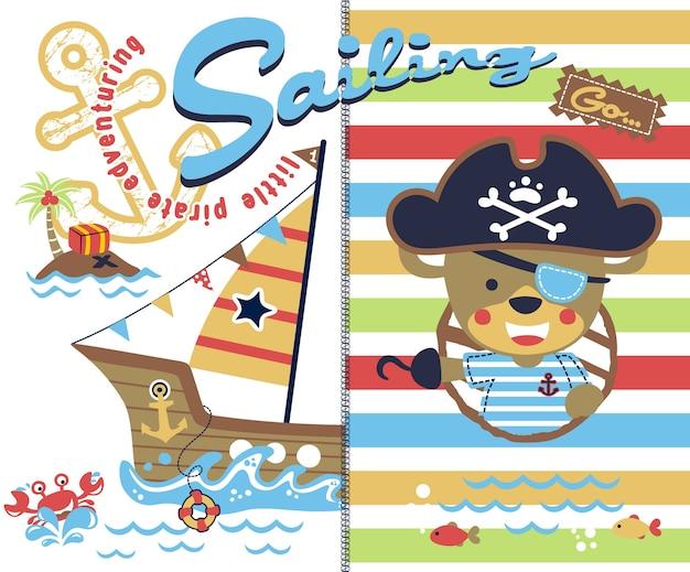 Sailing with cute pirate cartoon
