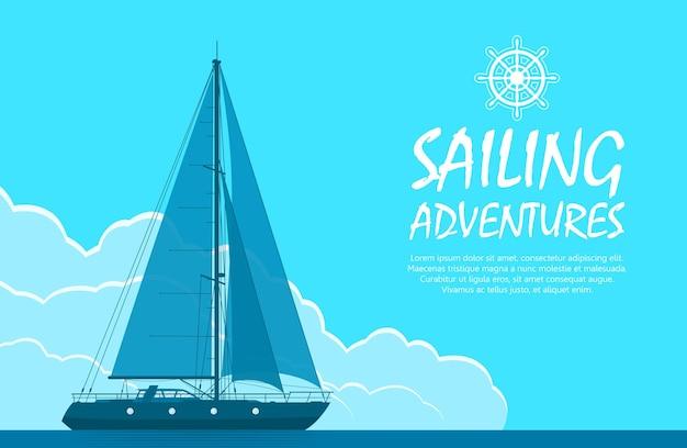 Парусная яхта в море. пейзаж с роскошной яхтой на фоне огромного голубого облачного неба. векторная иллюстрация.