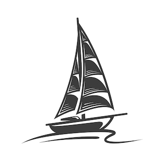 Sailing yacht on the wave isolated on white background