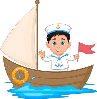 Sailor boy waving cartoon on a wooden boat