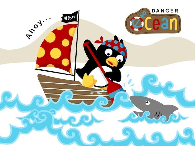 Sailor cartoon on sailboat under shark attack