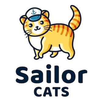 Шаблон логотипа sailor cats cute kids