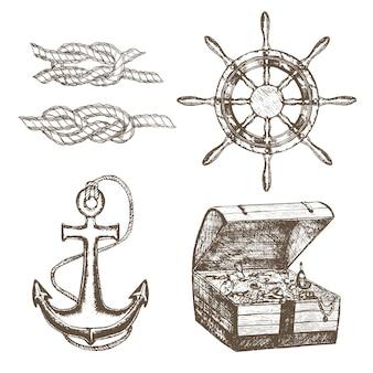 선원 장비 세트 손으로 그리는 스케치 선박 앵커, 보물 상자, 스티어링 휠 및 매듭 꼬인 로프. 레트로 빈티지 스타일.