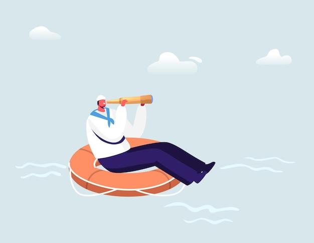 Матрос плывет на огромном спасательном круге, глядя далеко в подзорную трубу в океане