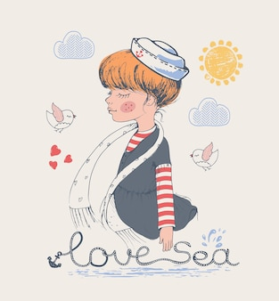 Sailor girl hand drawn vector illustration can be used for kids or babys shirt design fashion