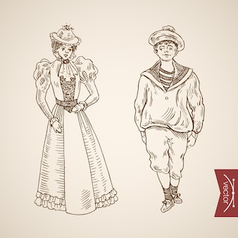 Sailor man lady woman clothes accessory wearing singlet dress hat icon set.