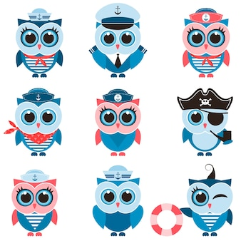 Sailor owls and owlets set