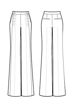 Штаны матросские изолированные спереди и сзади. черное и белое.