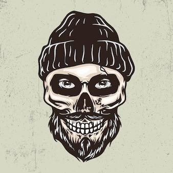 Sailor skull hand drawn illustration