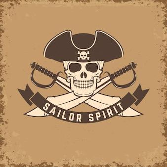 Sailor spirit. skull with anchor on grunge background.  illustration.