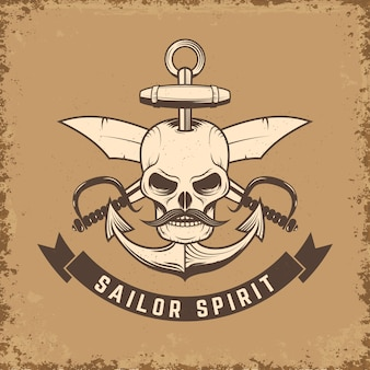 Sailor spirit. skull with anchor and knives on grunge background.  illustration.