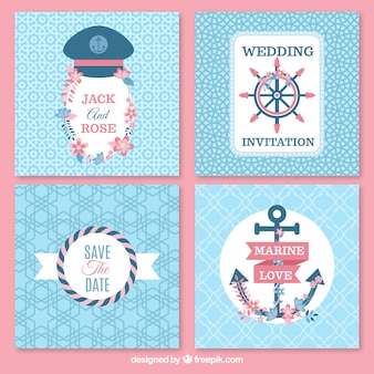 Sailor wedding cards pack