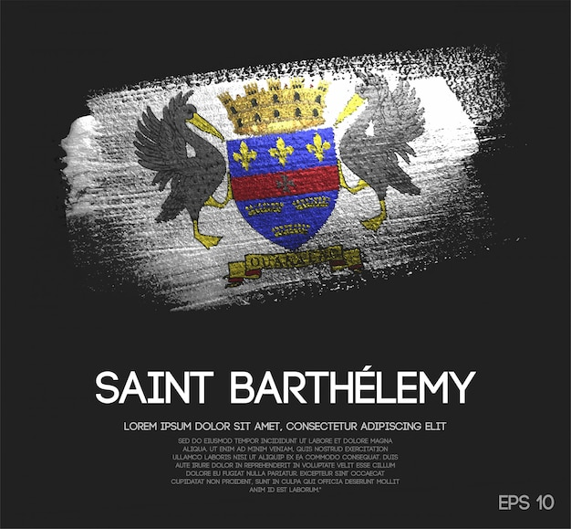 Saint barthélemy flag made of glitter sparkle brush paint