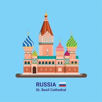 Saint basil`s cathedral - russia famous landmark in flat style illustration editable vector