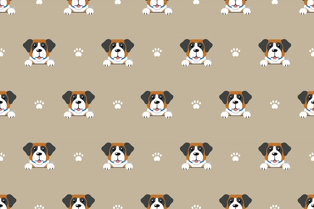 Saint bernard dog seamless pattern background