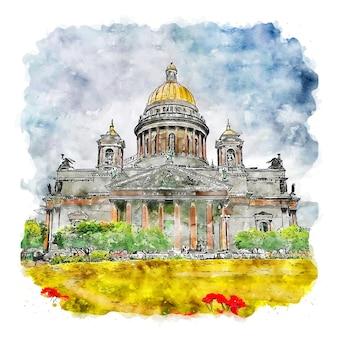 성 이삭 대성당 스페인 수채화 스케치 손으로 그린 그림