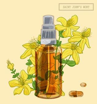 Цветы зверобоя и опрыскиватель из коричневого стекла и таблетки, рисованная ботаническая иллюстрация в модном современном стиле
