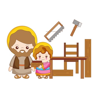 Saint joseph and jesus in the in the carpentry