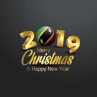 Saint kitts and nevis flag 2019 merry christmas typography