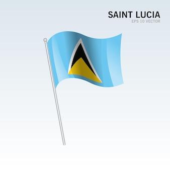 회색에 고립 된 세인트 루시아 흔들며 깃발